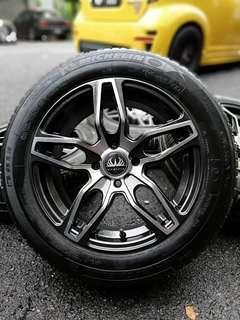 Vip status 15 inch sports rim jazz tyre 70%.