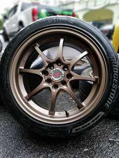 Ce28 16 inch sports rim myvi tyre 70%. *mora mora kasi you*