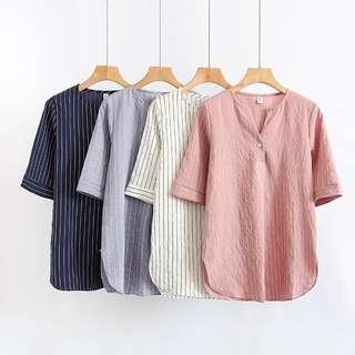 (M~4XL) Cotton Striped Shirt Short Sleeve Blouse Top Plus size
