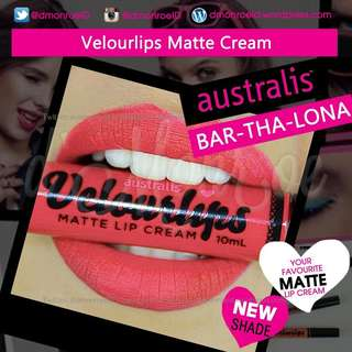 ( INSTOCKS ) Australis Velourlips Matte Lip Cream