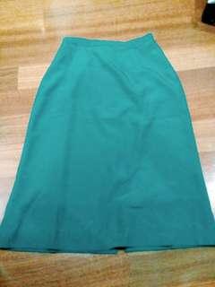 Green Midi Office Skirt