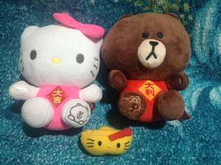 Hello Kitty and Line Brown Bear stuffed toy set