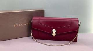 Bvlgari 蛇頭手袋銀包 Ruby Red Calf Leather Size: 19 x 10 x 3 Short chain 長約34.5cm Real and New