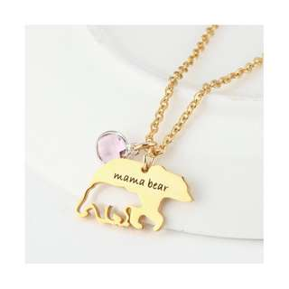 Mama bear fashion design gift mother's day personal custome DIY necklaces 妈妈礼物
