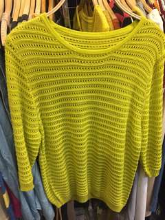 Yellow knitted