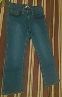 Dark blue pants with adjustable waist pull out garted