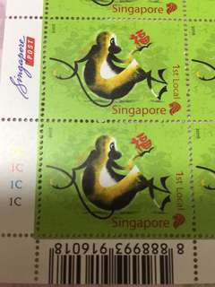 Singapore Stamp year of monkey 1st local