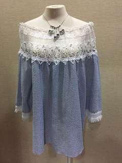 🚚 韓 鏤空蕾絲 釘珠 一字領 海軍藍條文 流蘇袖長版上衣F 洋裝 棉麻 雪紡 長裙牛仔 韓妮 MOMA Mango