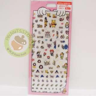 日本disneystore 貼紙 pooh alice peterpan marie stitch pinocchio ariel