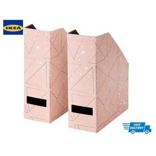 IKEA TJENA magazine file pink, black, white
