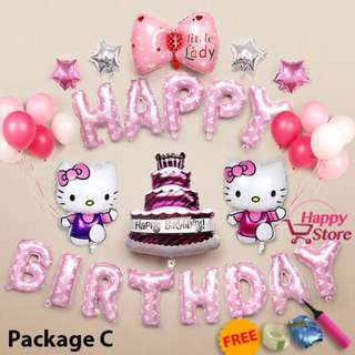 Happy Birthday party decoration balloon Hello Kitty