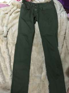 Dark Green Fitted Pants