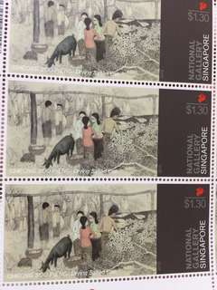 National Gallery Singapore stamps $1.30 Drying salted fish