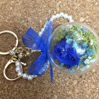 Crystal preserve flower hanging key chain