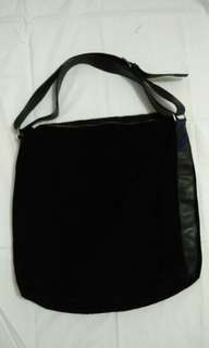 CLUB MONACO Huge Black Leather & Suede Tote Bag