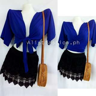 PLUS SIZE royal blue wrap around/front tie top