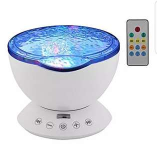 StarLight Ocean Wave Projector with 7 Colors Night Light Built-in Mini Music Player and Remote Control(White)