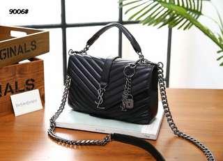 YSL Medium College Matelasse Leather Bag 9006#22  Bahan kulit kambing Dalaman kain (model 2 ruang) Kwalitas High Premium AAA Tas uk 25x7x15cm Berat dengan box 1,2kg  Warna : -Black Include Box YSL  Harga  @780rb