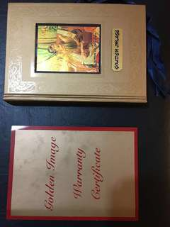 3 sheets of Gold US dollar bills and a book of famous paintings with 12 sheets of gold stamps - (97.66% purity) - limited edition.