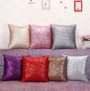 Solid sequin cushion covers