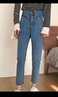 🚚 全新/韓高腰反折造型藍色牛仔丹寧長褲