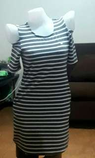 Gray and white stripes Round neck short sleeve off-shoulder mini dress for teens