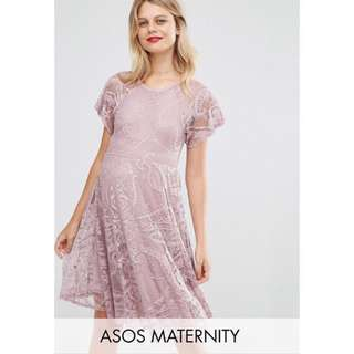 Preloved ASOS Maternity Flutter sleeve skater dress - plum