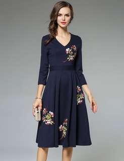 Long-Sleeve: Blue Charm European Floral Embroidered V-Neck A-Line Dress (S / M / L / XL / 2XL) - OA/HHD092009