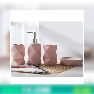 Set Of 4 Bathroom Accessories (Pink Ceramic)