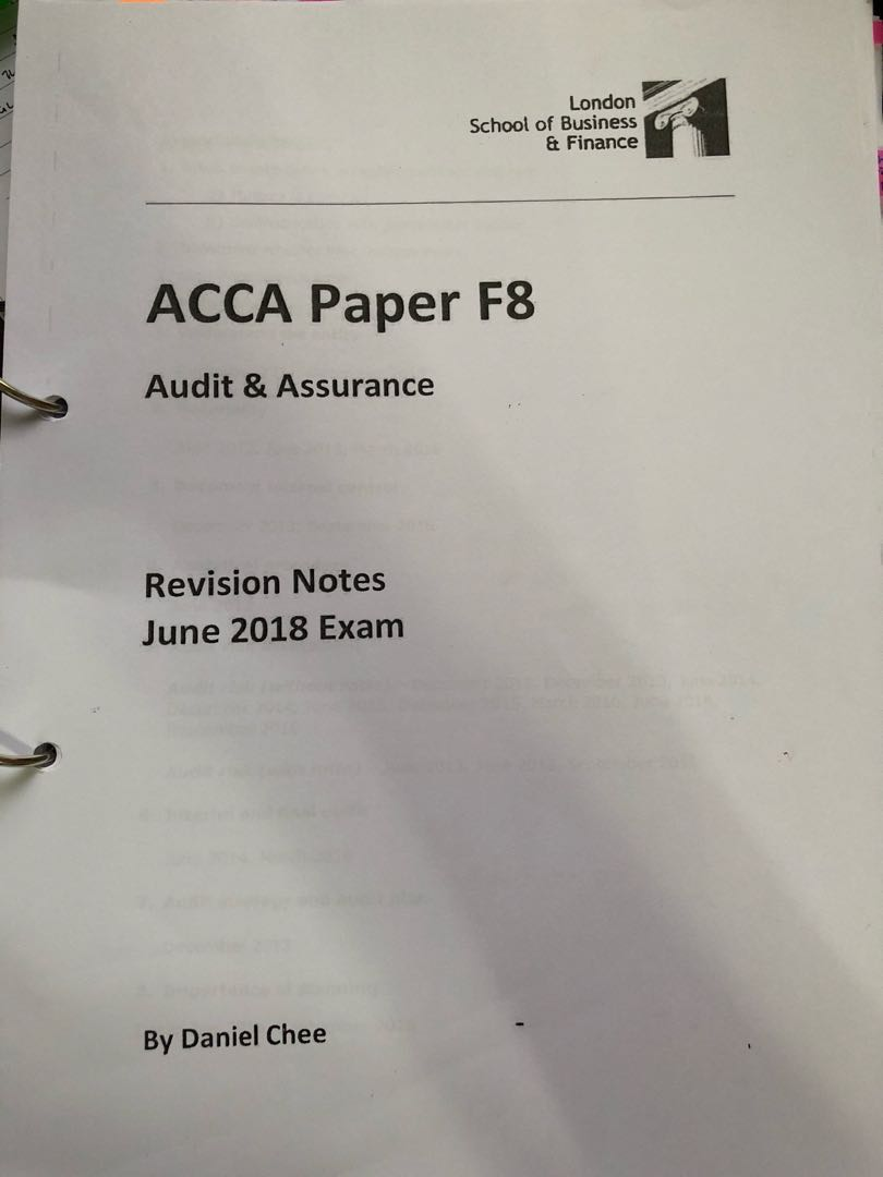 ACCA F8 revision notes for June 2018 exam, Books