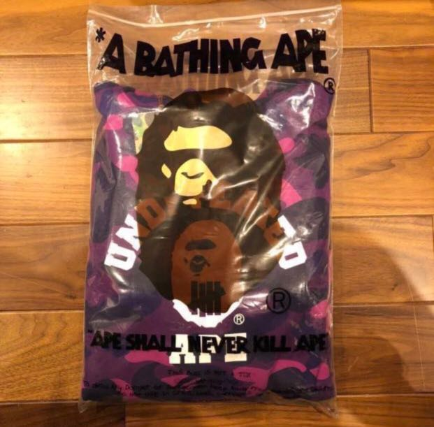 904cf3f12ef0 BAPE X UNDEFEATED COLOR CAMO COLLEGE PULLOVER HOODIE SIZE L