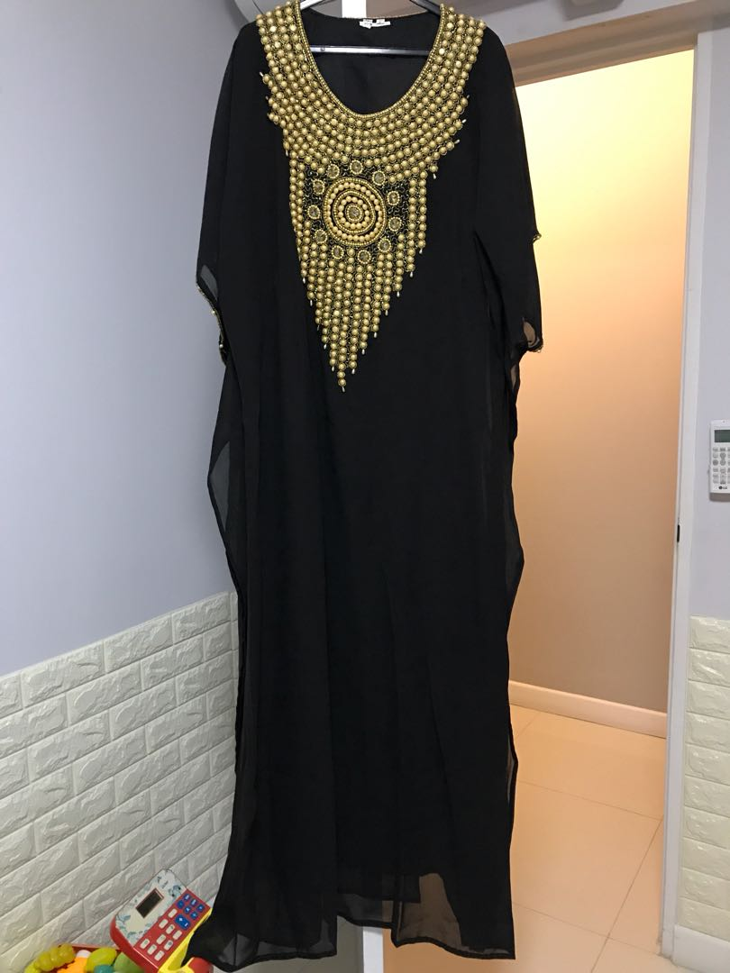Black Kaftan With Pearl Design Womens Fashion Clothes Others On Kamera Mini Gantungan Baju Spy Cam Hook Photo