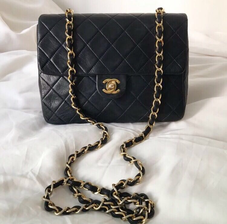 793ad6fa61ef Chanel mini square vintage Bag 20cm 黑金羊皮, Luxury, Bags & Wallets on  Carousell