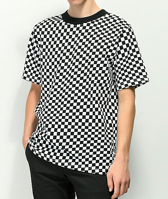 Empyre Wavy Checkered Black White T Shirt