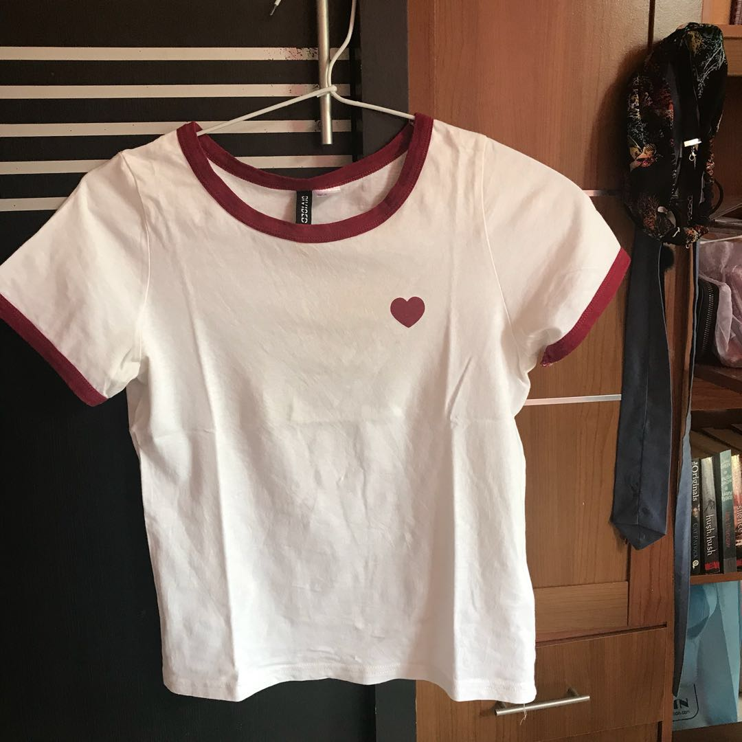 H&M white red love/heart crop top