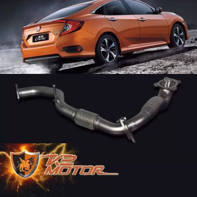 Honda Civic 1 5 turbo 10th generation ceramic coating downpipe cat less  confirmed no CEL issue with bigger diameter direct fitment