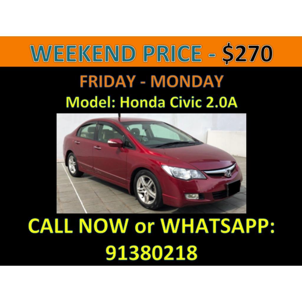 honda civic 2 0a weekend car rental cars vehicle rentals on carousell rh sg carousell com
