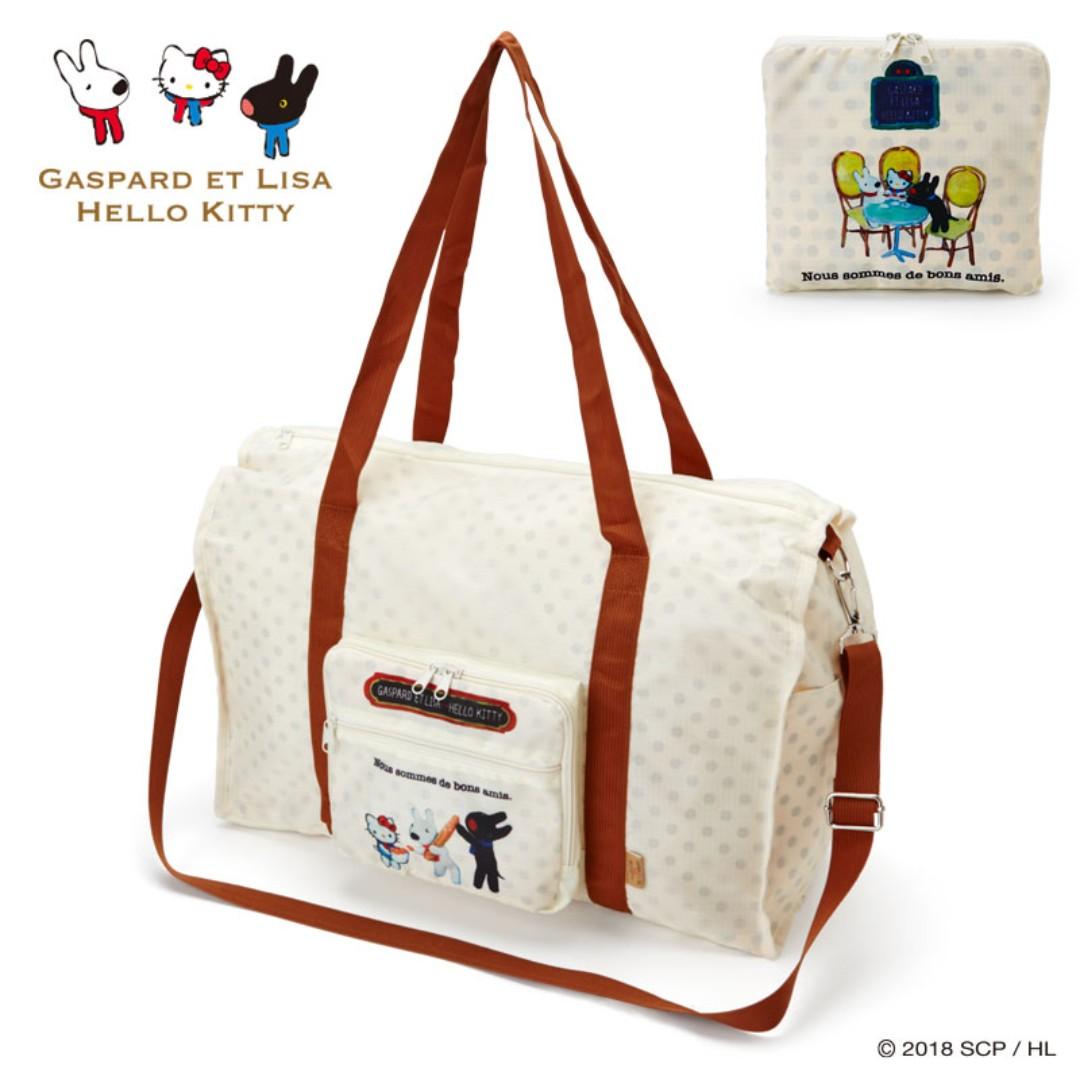 6173fef5e1b8 Japan Sanrio Gaspard et Lisa x Hello Kitty Folding Boston Bag ...