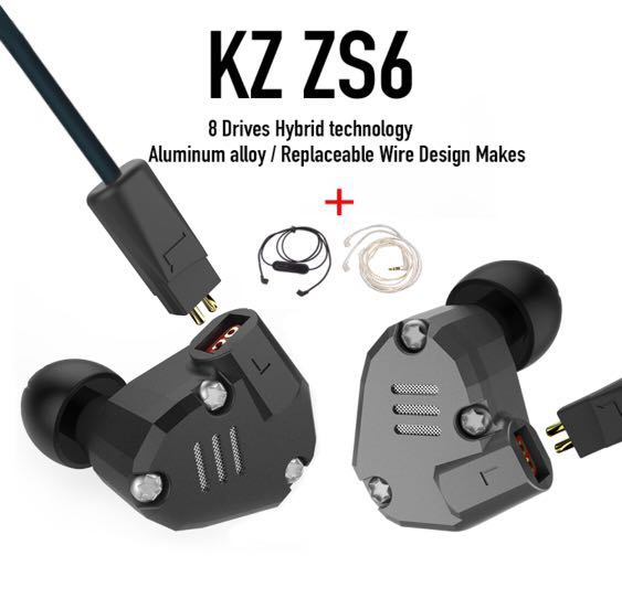 c5469ca5539 KZ ZS6 with Bluetooth and silver upgraded cable , Electronics, Audio ...