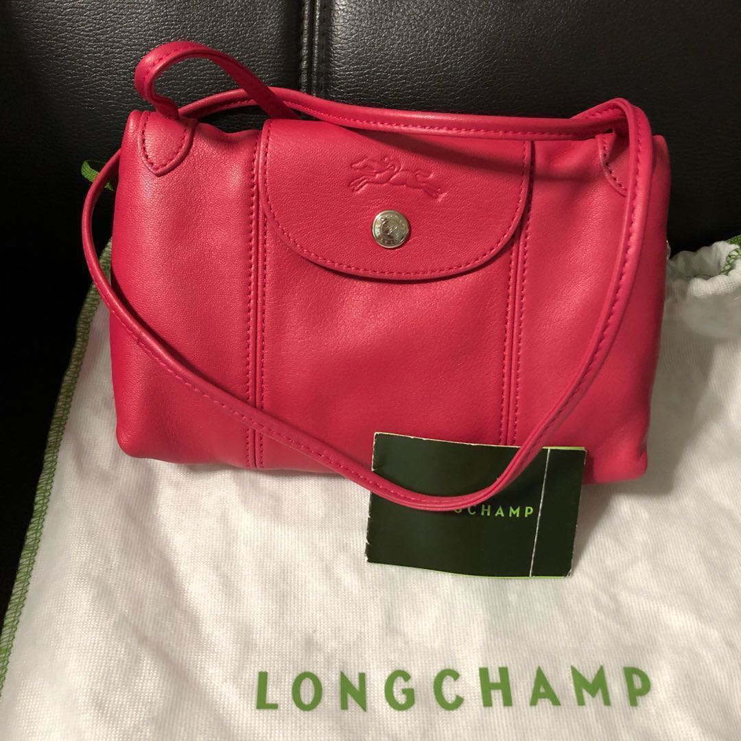 dc5245f179b Longchamp Le Pliage Cuir Cross Body Bag - hot pink, Luxury, Bags ...