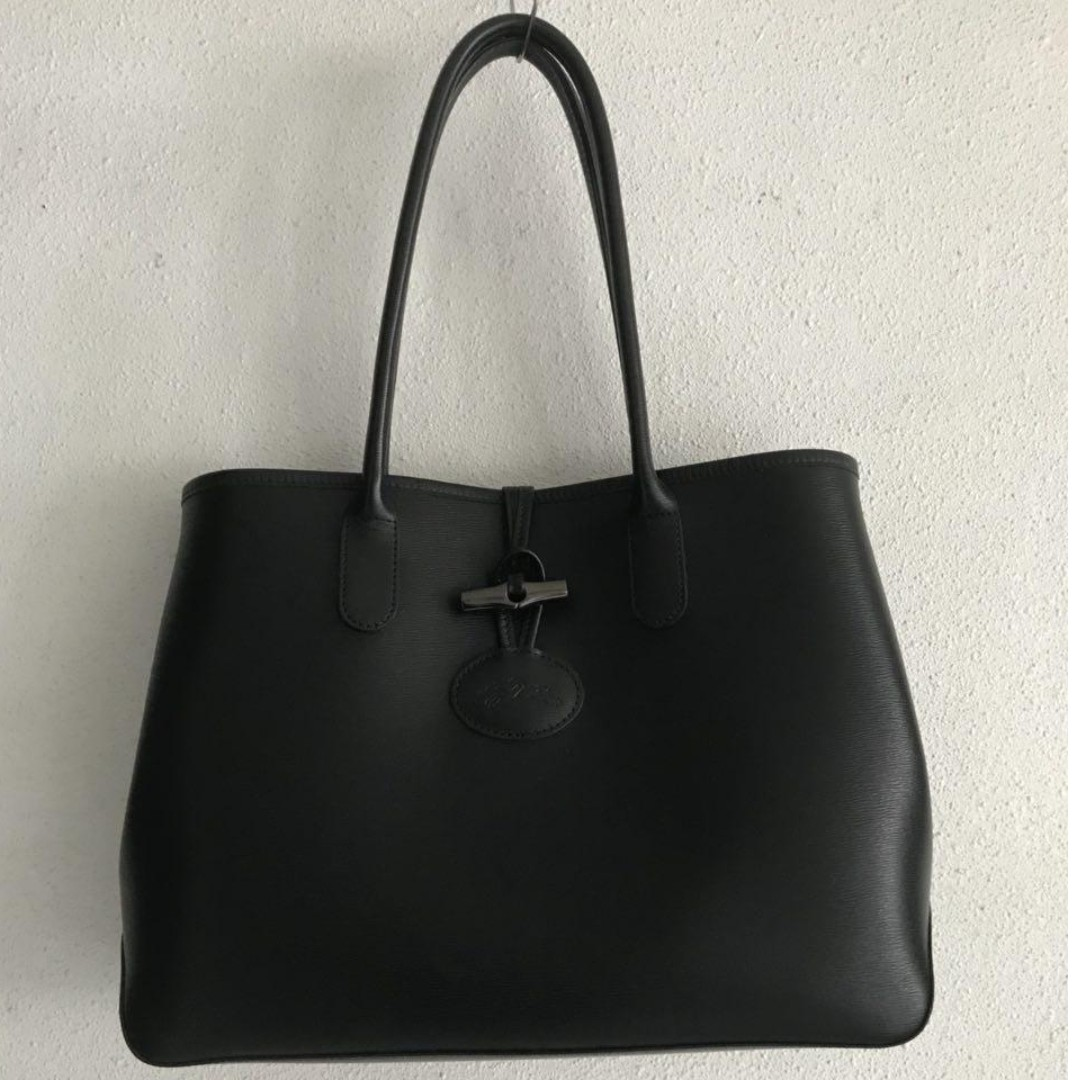 Longchamp Roseau Tote Bag (Black Long handle) 107bdedfb9015