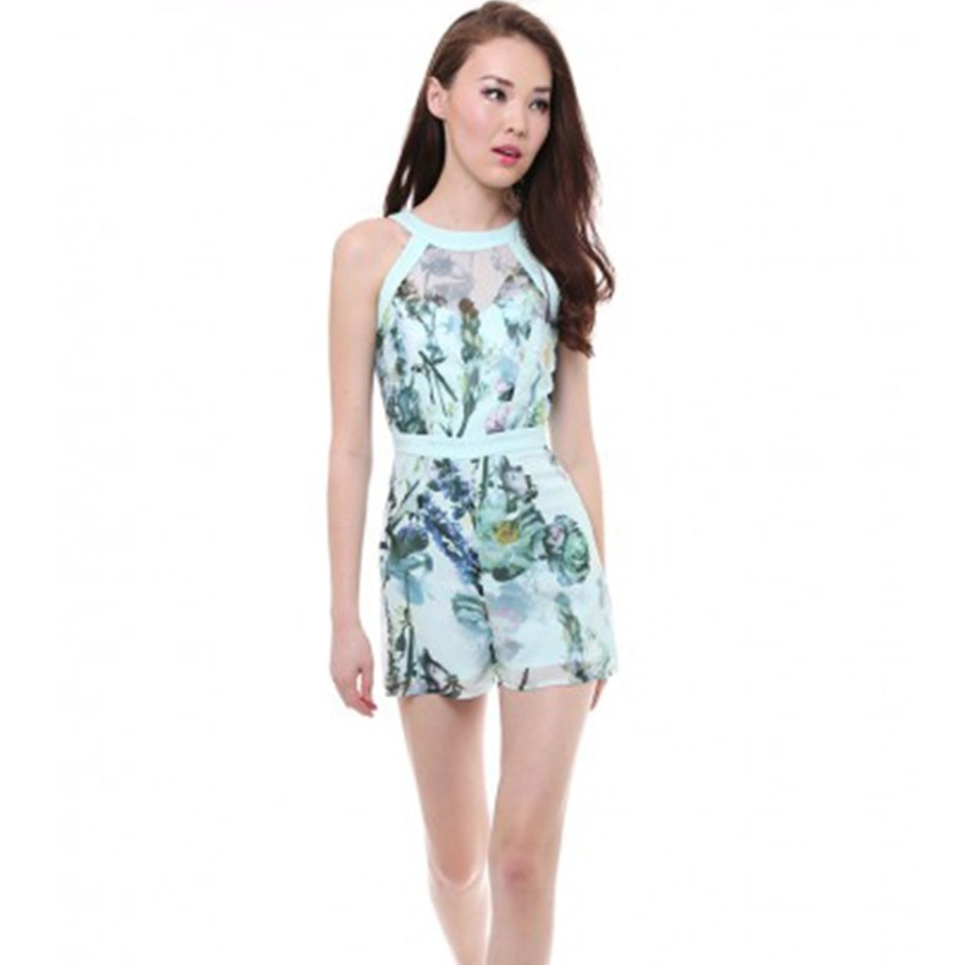 c27ae563880a MDS Mint Green Floral Jumpsuit