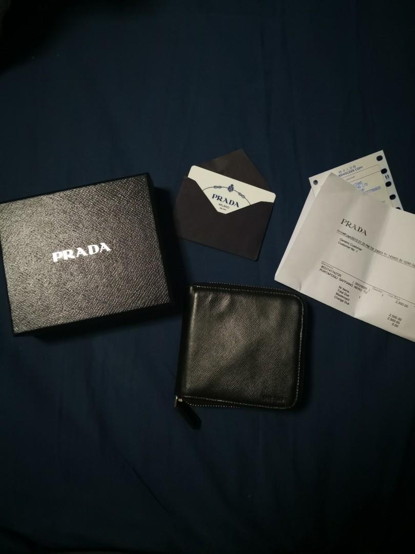 d71eb8af7b042e Prada round zip wallet ( BLACK ), Men's Fashion, Bags & Wallets ...