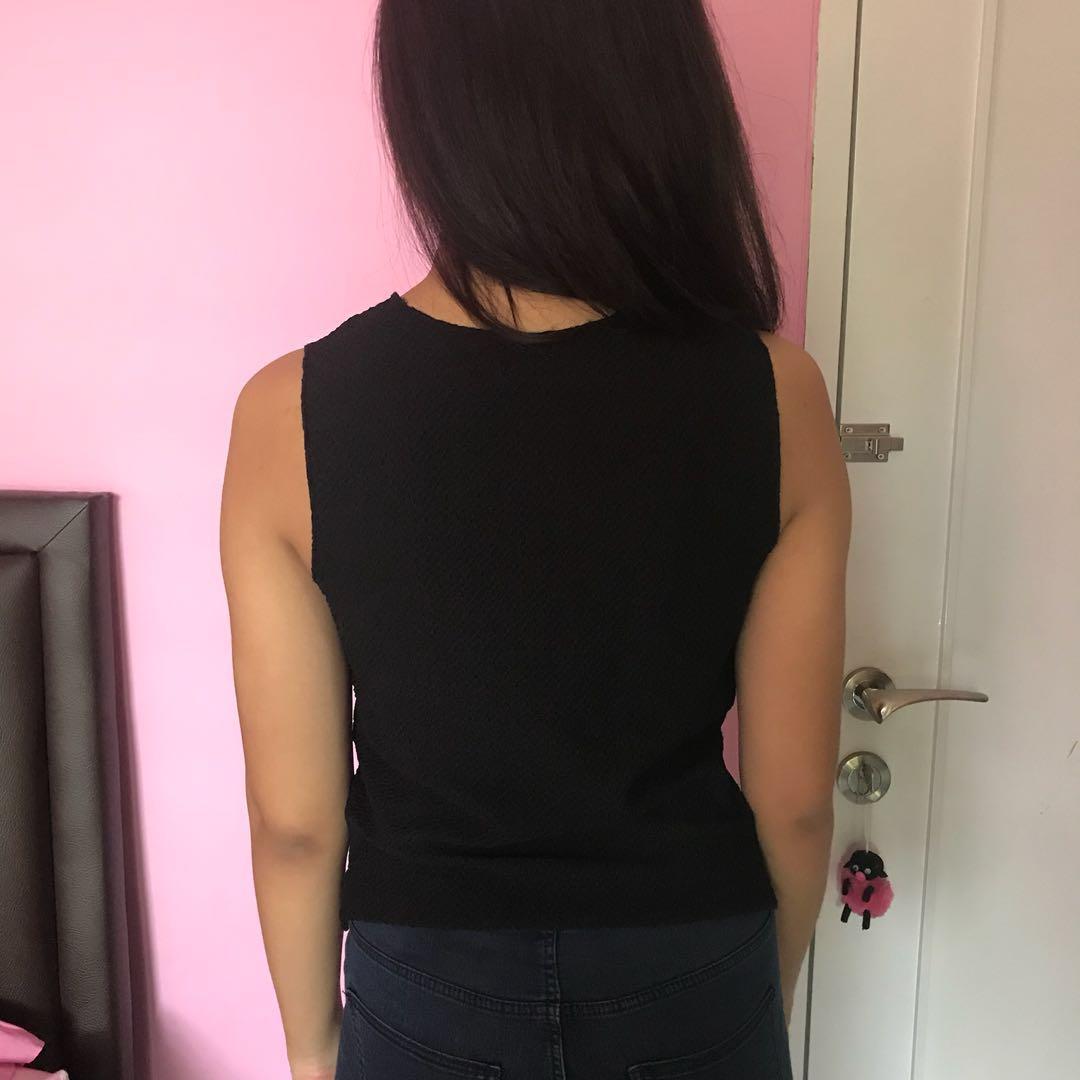Topshop black beads sleeveless top