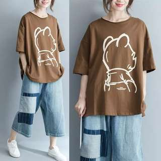 PO Pooh Back View Round Neck Large Tee