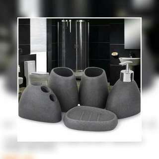 Set Of 5 Bathroom Accessories Resin Cobblestone