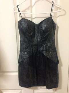SEDUCE Black strapless python print mini dress
