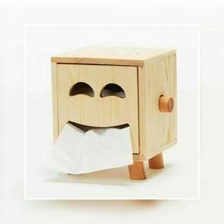 Smiley Wooden Tissue Box