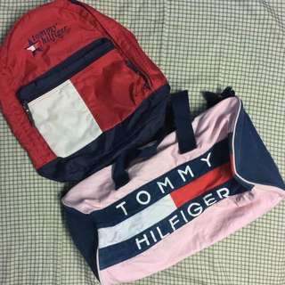 TOMMY HILFIGER. (1) BAGPACK (muat letak laptop). Condition 9/10. . (2)DUFFLE BAG//SIZE L.  Condition 9/10  RM 160 EACH