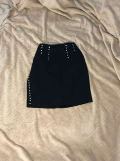 Black Pencil Skirt with Studs